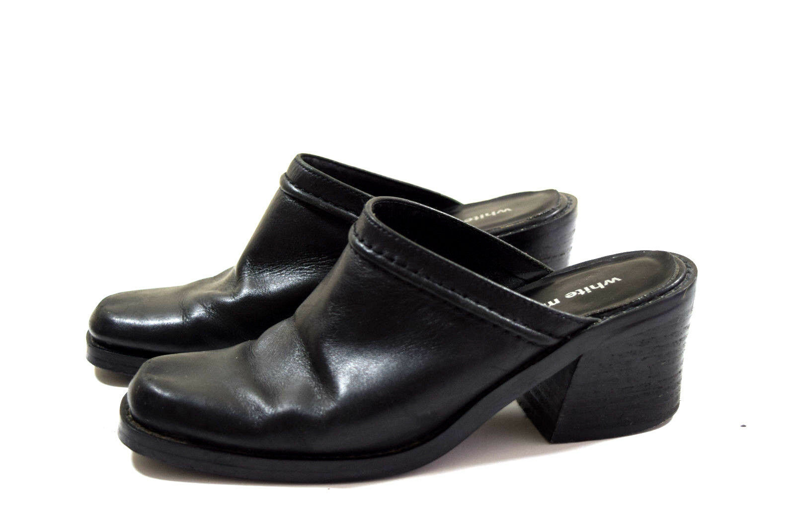 WHITE MOUNTAIN Women's SHOES 6 BLACK LEATHER SLIP ON CLOG MULES SHOES 6