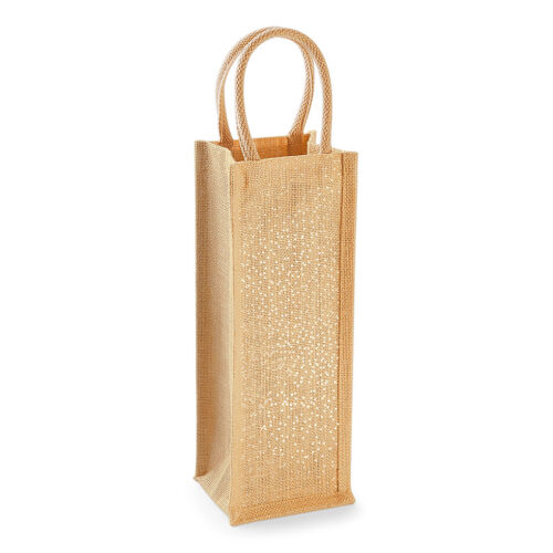 Westford Mill Shimmer Gold jute bag Gift Christmas Birthday Bottle shopper