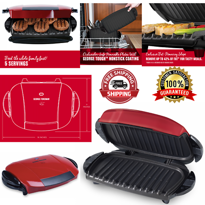 Electric Indoor Grill George Foreman Serving Plate Panini Press 5 Servings NEW