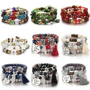 Boho-Fashion-Natural-Stone-Multilayer-Tassel-Beaded-Bracelet-Womens-Jewelry-Gift