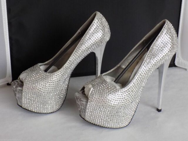 "Silver Peep Toe Rhinestones Covered Pumps 2"" Platform 6"" Heel 607-Suzette 6M"
