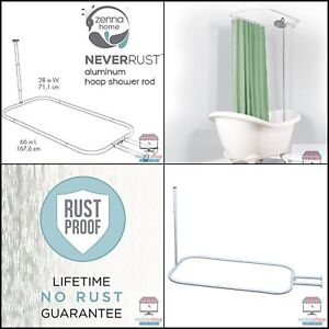 Image Is Loading Aluminum Hoop Shower Curtain Rod Claw Foot Tubs