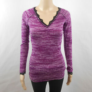 Buckle-BKE-Women-s-Top-Purple-Lace-Long-Sleeves-Blouse-Thin-Knit-Shirt-S-Small