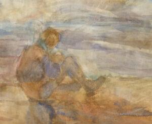 20th-Century-Watercolour-Figure-Sits-Alone