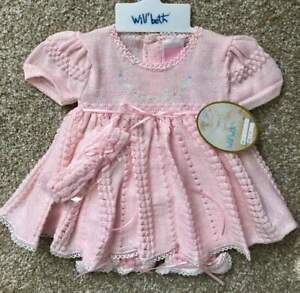 Will'beth Infant Newborn Reborn Baby Girl Fancy Pink Knit Set Headband NWT Sz0