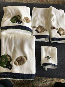 Pottery Barn Kids Boys Towel Set Sports Baseball