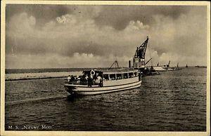 Schiffe-1950-60-Schiffsfoto-AK-MS-NIEUWE-MEER-Personen-Fahrgastschiff-Ship-Card
