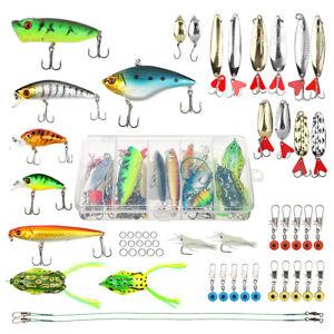 56pcs Lot Mixed Fishing Lures Bass Baits Crankbaits Fish Hooks Tackle with box