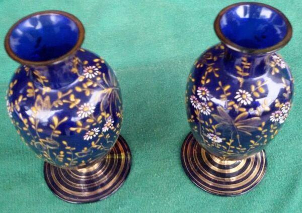 2019 Neuestes Design Paar Handbemalte Enghals Vasen, Königsblau, Blumen In Gold,weiß, Rosa Jugendstil
