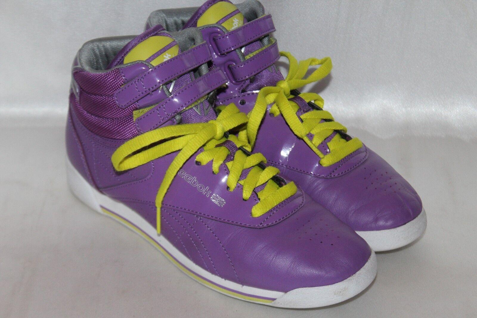 REEBOK Classic Classic Classic FREESTYLE Retro 80's purple High Hi Top Sneakers shoes Sz 8 ee6f67
