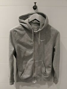 NIKE-Light-Grey-Logo-Embroidered-Hooded-Sweatshirt-Mens-Size-S