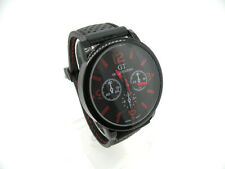Japan Movement, Large Sports Watch, Red Hands on Black Dial Adj. Strap, EXC. +++