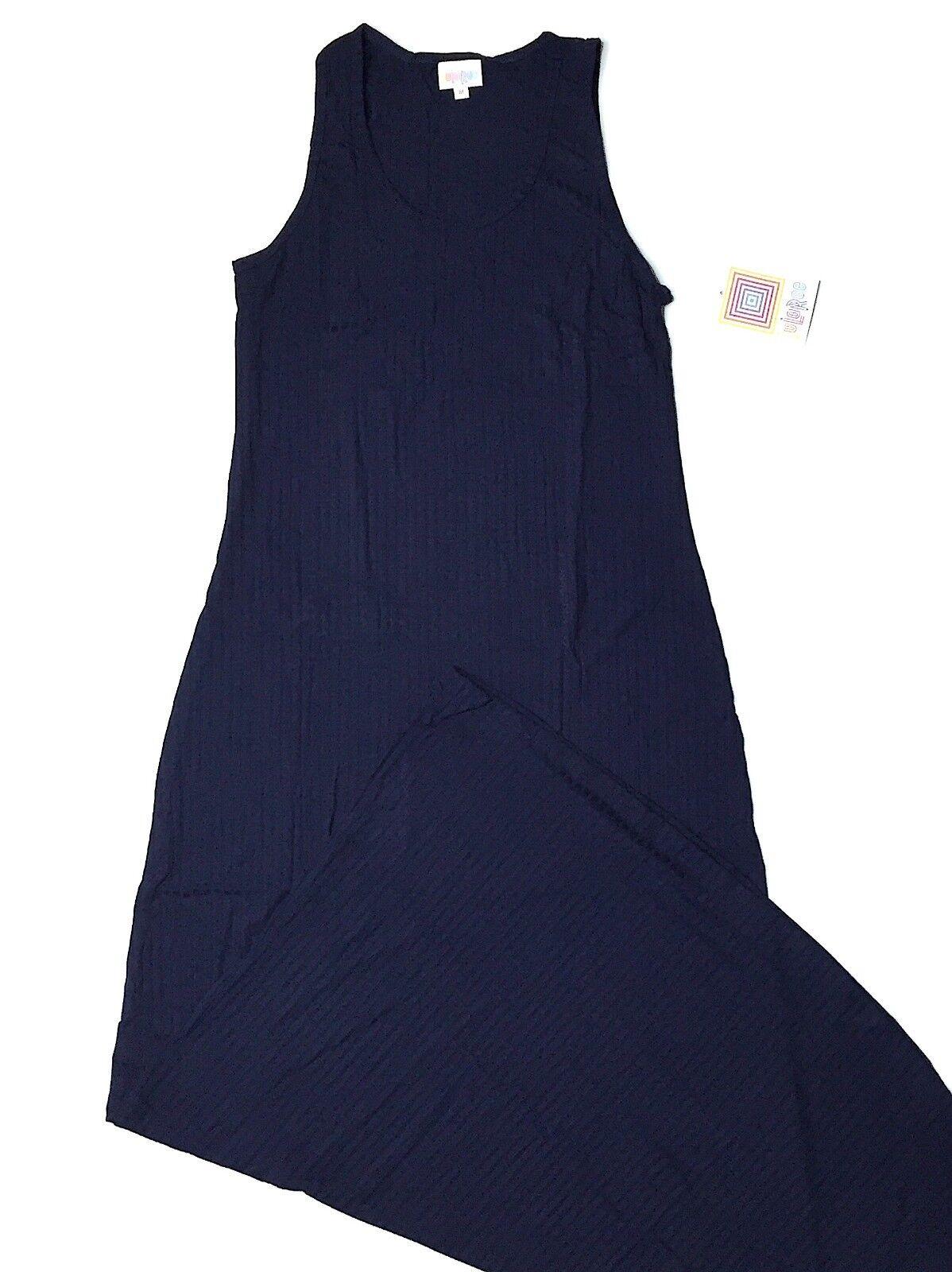 LuLaRoe DANI Dress  Medium Tank Maxi  Solid Navy bluee Ribbed w  Great Stretch
