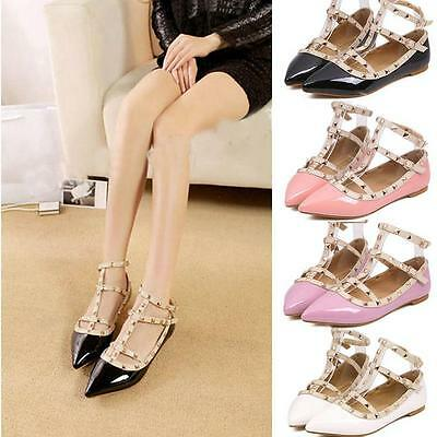 Women's Best Come T-strap Studded Rivet Metal Flats Pointed Shoes Single Sandals