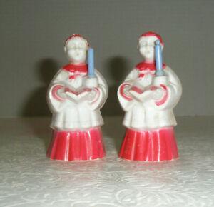 Vintage Figurines Choir Boys Hold Candles Hymnal Plastic