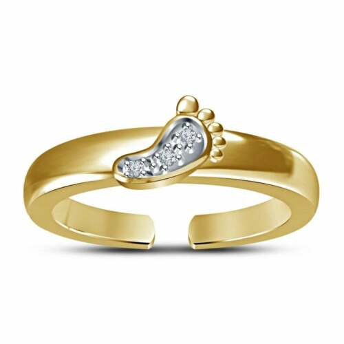 0.15 Ct Round Cut Diamond Baby Foot Prints Womens Toe Ring 14k Yellow Gold Over