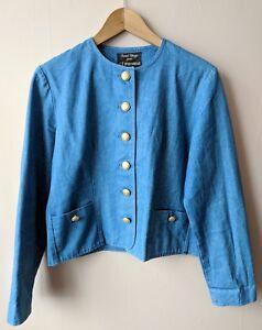 90s Vintage Blue Denim Jacket 14 12 14 Gold Buttons Smart Casual