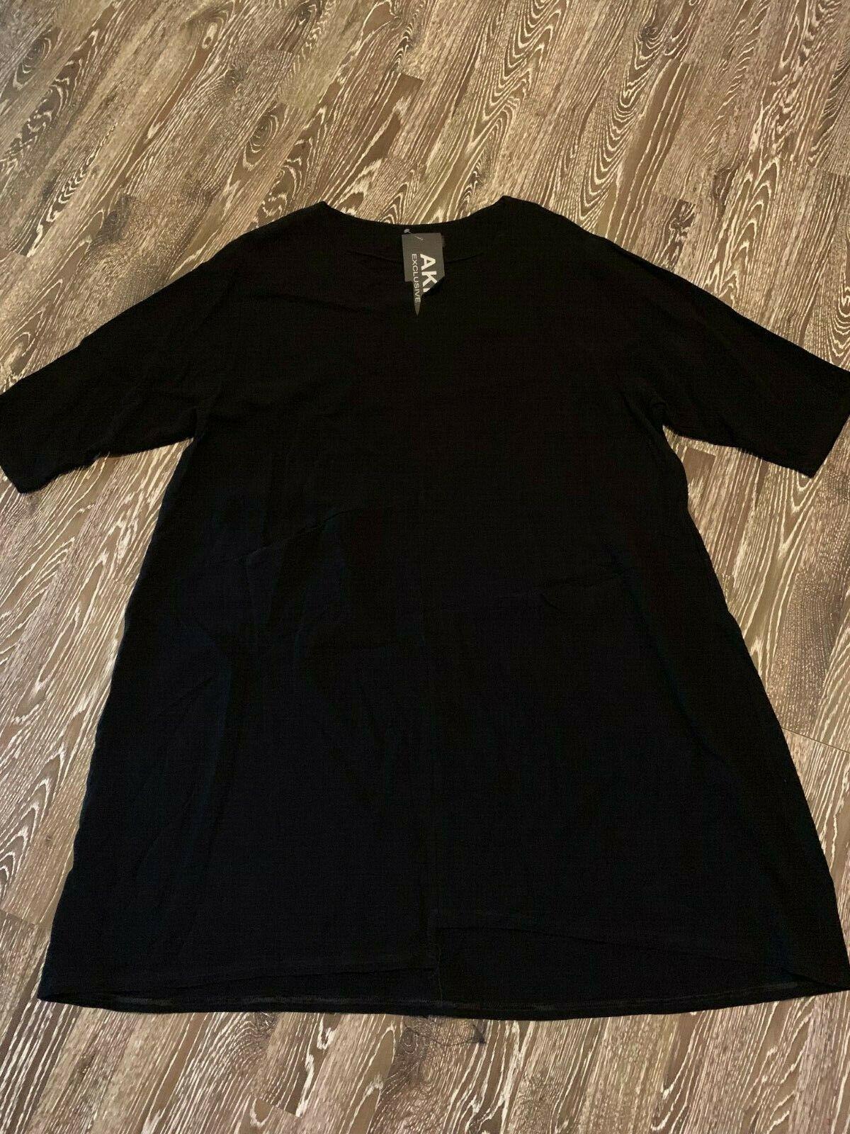 719a7ecb5af051 AKH Lagenlook Tunika Leinen Viskose in schwarz EG NEU Kleid nplegr3251-neue  Kleidung