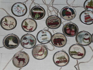 "10 Metal Rim Round XLARGE 2-1//4/"" Coffee Stained Primitive Price Gift Hang Tags"