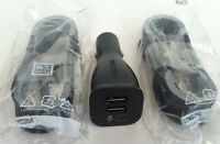 Samsung Black Dual Fast Car Charger + 2x 5' Micro Usb Cable For Galaxy S6 Note 5