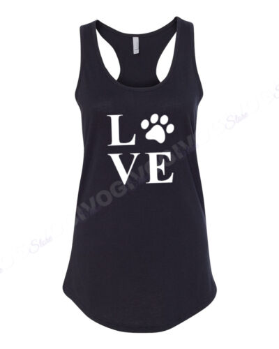 Ladies Tank Top Love Dog Cat Paw T Shirt Animal Lover T-shirt Pet Mother/'s Day