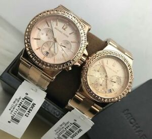 97bdd12f502ab Image is loading Michael-Kors-Dylan-Glitz-Couple-Watch-Rosegold-tone
