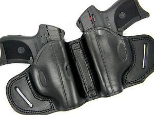 PREMIUM BLACK LEATHER DUAL 2-GUN OWB HOLSTER SMALL OF BACK