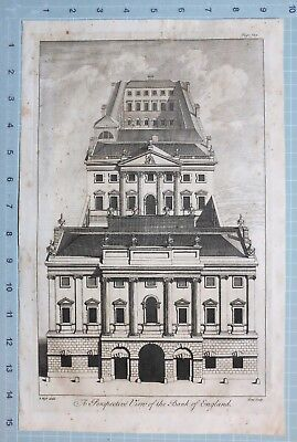 1739 Londres Maitland Estampado ~ Perspective View Of Banco De Inglaterra