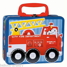 6 x Fireman Big Red Fire Engine Truck Metal Sandwich Lunch 19cm Favour Boxes