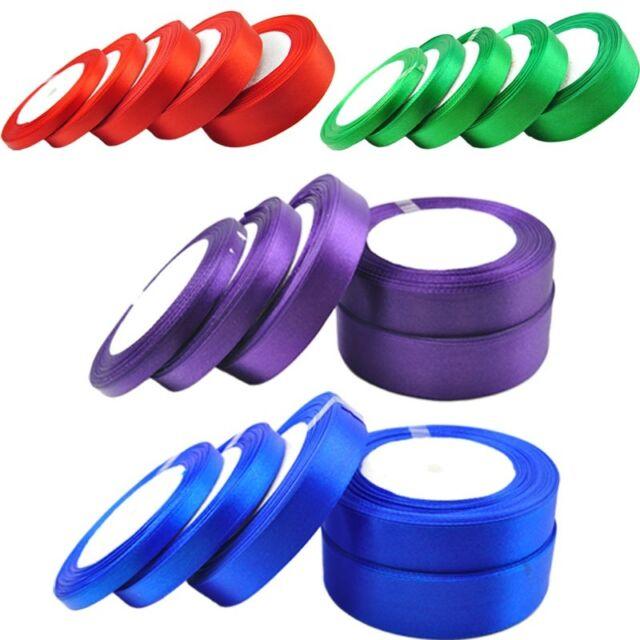 New 25 yards 6-25mm satin ribbon craft sewing wedding decorations various colors