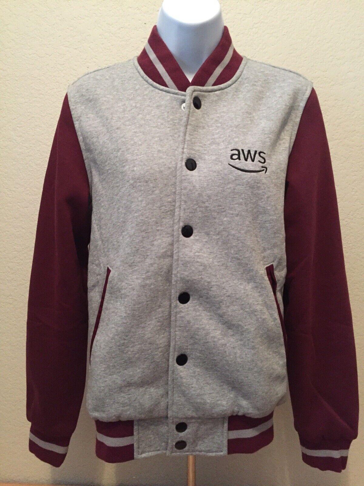 Amazon AWS Embroidered Logo Varsity Jacket Grey/Burgundy Women's 3XS NWOT