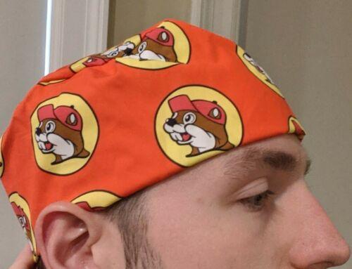 Custom Made and Hand Sewn; bucee scrub cap Details about  /Bucee Beaver Mascot Scrub Hat