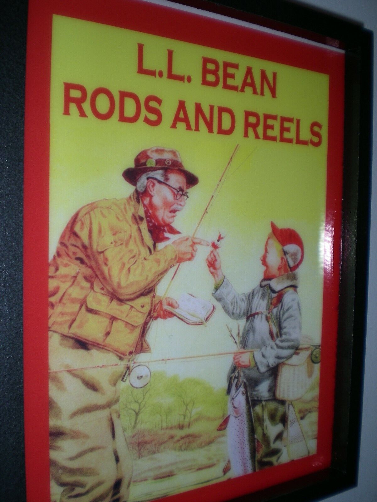LL Bean Fly Fishing Store Rod Reel Creel man Cave Lichted Advertising Sign