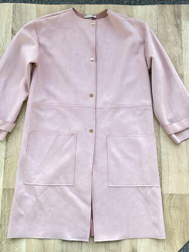 Zara Women's Faux Suede Trench Coat Jacket Blush P