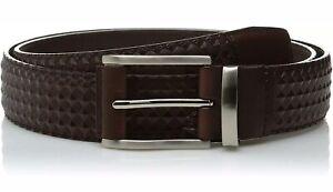 Stacy Adams Mens 34mm Diamond Embossed Leather Belt