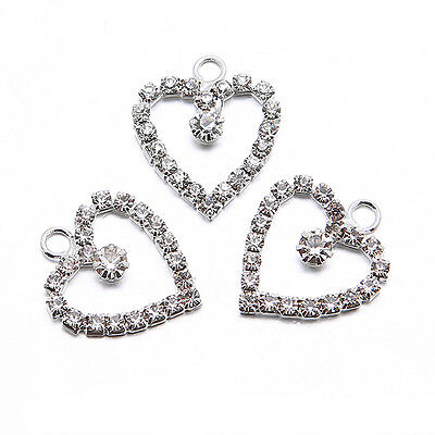 15pcs New Arrival Silver Plated Hollow Heart Charms Pendants Perfect Makings L