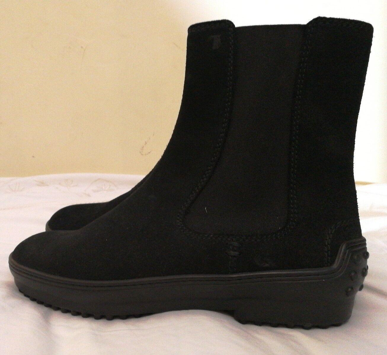 Tod's Suede Chelsea Ankle Boots Black Size uk 2.5 eu eu eu 35.5 759ba7