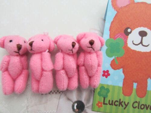 10 Craft Mini Teddy Bear 4cm Cute Doll Applique//House//miniatures//baby H139-Pink