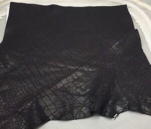 "Dark PLUM gator embossed Supple Lambskin Leather 12""x12"" Piece 1 Square Foot"