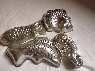 4 Kleine Weißblech-formen, Fisch U Seepferdchen