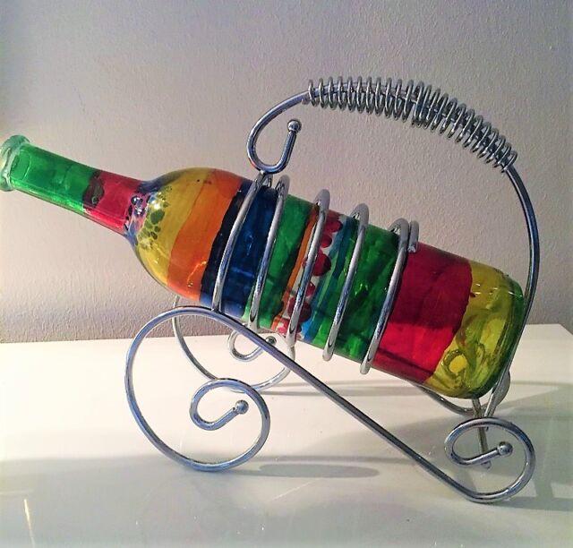 Flaschenhalter maritim als Boot mit Paar ca 30 x 12 x 34 cm Metall