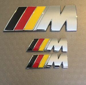 ///M Sport { 1x Boot + 2x Wings Set} Chrome Metal Badge BMW 1,2,3,4 5 UK Stock