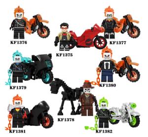 GHOST RIDER WITH MOTOCYCLE Minifigure Rare Lego MOC Super Hero Marvel DC Figure