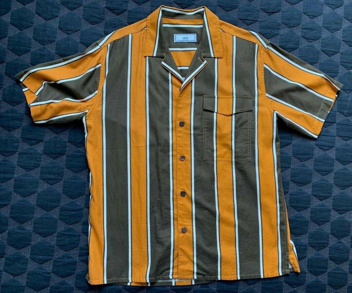 AMI - Alexandre Mattiussi Camp Collar Striped Shirt, Size 40 M-L