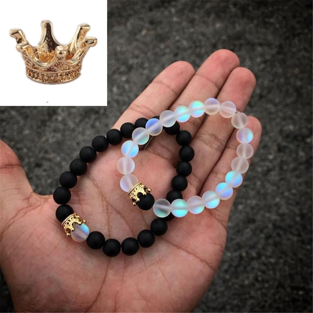 LOLIAS 8PCS 8mm Perles De Pierres Distance Couple Bracelet Crown King Queen Noir Mat Agate Oeil De Tigre Pierre Naturelle Perles Bracelet /Élastique Diffuseur Cadeaux pour Hommes et Femmes