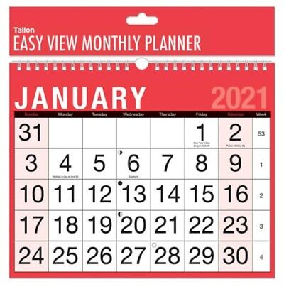 2021 Calendar, Wall Calendars, Easy view Monthly Planner ...