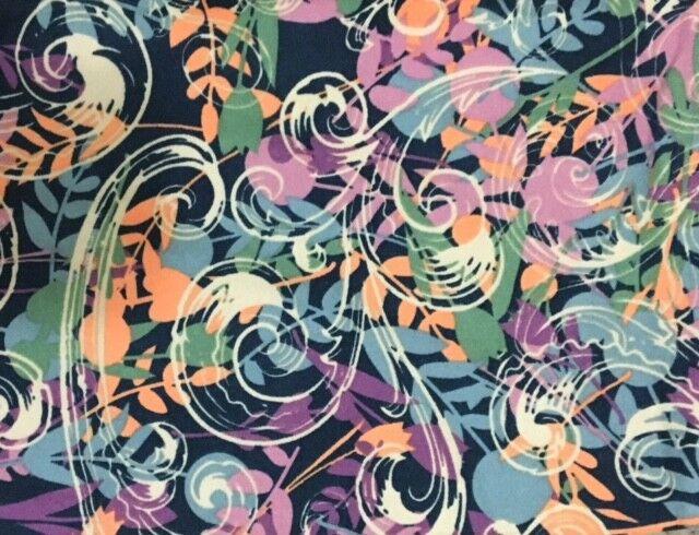 NWT LuLaRoe Leggings  OS  NAVY blueE  PASTEL FLOWERS CREAM SCROLLS  UNICORN