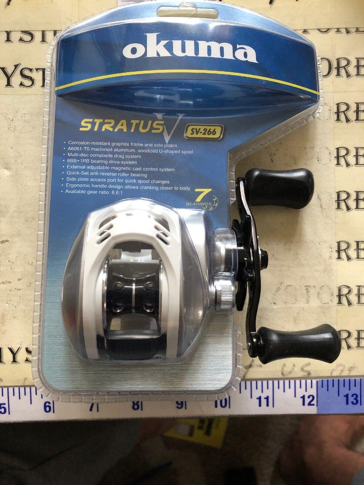 NEW OKUMA SV266 STRATUS V BAITCASTING FISHING REEL  7BB 6.6 1 12lb130yds RH