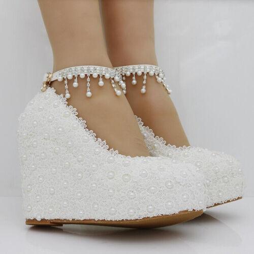 Ladies Womens Lace Wedge Sandals High Heels Platform Wedding Bride Shoes Size