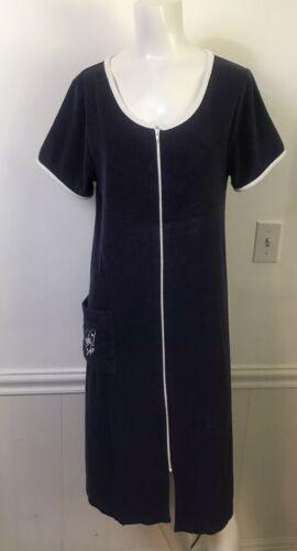 Vtg Terry Cloth Blue Womens Bath Robe Embroidery B